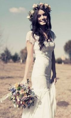 THIS IS GOING TO BE MY DRESS! ... my hair, my headpiece and my bouquet. OMG... completely head over heels.. BOHO CHIC HIPPIE ELEGANT CLASSY HAPPY CAREFREE FREEBIRD <3