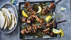Pork souvlaki with oregano