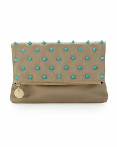 Fold-Over Spiked Clutch Bag, Putty/Turquoise by Deux Lux at Neiman Marcus Last Call. Want this for an October Wedding