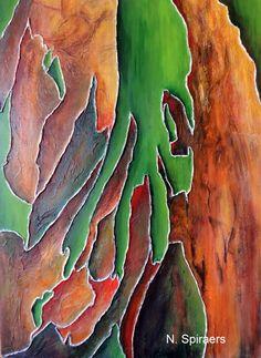 Ecorce d'eucalyptus arc-en-ciel (Peinture), 40x55 cm par Nicole Spiraers Technique mixte sur bois Peinture acrylique 40 x 55 x 3 cm