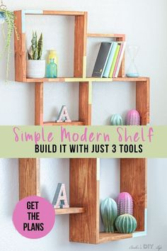 How to build an easy DIY Wall Shelf with full plans and video. This beginner friendly woodworking project. Learn how to make a modern wooden display shelf. #woodworkingproject #woodworkingplans #woodworking