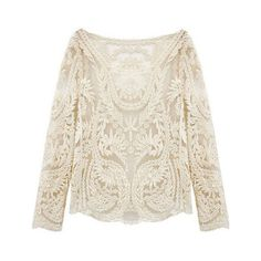 SheIn(sheinside) Beige Long Sleeve Hollow Crochet Lace Blouse (€14) ❤ liked on Polyvore featuring tops, blouses, blusas, shirts, beige, white collared blouse, sexy white shirt, long sleeve blouse, white collar shirt and sheer white blouse