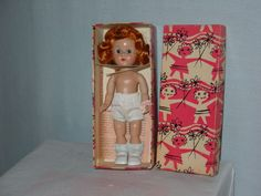 Ginny molded lash walker pink cheeks, orig. box with wrist tag & instructions