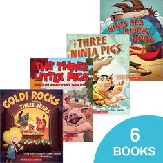 Twisted Fairy Tales 6-Pack: Ninja Red Riding Hood There Three Little Pigs and the Somewhat Bad Wolf The Tree House that Jack Built The Sky is Falling! The Three Ninja Pigs Goldi Rocks and the Three Bears