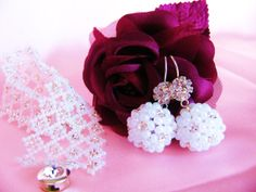 White and Silver Beaded Earrings and by LudasBoxOfTreasures, $25.00