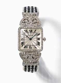 Art Deco platinum, onyx, and diamond watch by Cartier, circa 1912. http://www.0755zb.com/Texts/2006/2/17/102651.html