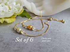 Set of 6 Bridesmaid Bracelet Ivory Gold Chain Bolo Adjustable