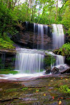 Grassy Creek Falls on Blue Ridge Parkway in the North Carolina mountains.