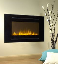 Wall Mounted Electric Fire Blanc Décoration Maison en bois Flicker Flame Compact logs
