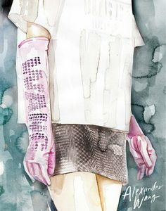 Alexander Wang: Fashion Week Illustrated: Artist Samantha Hahn's Painted Take On the NYFW Runways : Lucky Magazine