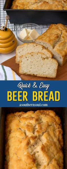 Beer Bread made with just 6 ingredients and no yeast is quick and easy to make! It's fluffy on the inside with a crispy, buttery top that's so good that you'll be wondering where this bread has been all your life. This is sure to become your go-to bread recipe that's perfect to make for any meal. #beerbread #homemadebread #quickbread Best Homemade Bread Recipe, Quick Bread Recipes, Baking Recipes, Snack Recipes, Breakfast Recipes, Simple Recipes, Drink Recipes, Yummy Snacks, Yummy Food