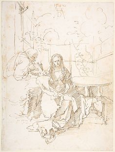 "Albrecht Durer (German, Nuremberg 1471-1528) ""The Holy Family in a Trellis"" CA. 1512: pen and reddish brown ink"