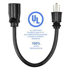 Etekcity 10 Pack Power Extension Cord Cable, 16AWG-13A, UL Listed, 2015 Upgraded Version (Black, 1-Foot)