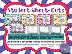 This product is everything you need to create a positive learning tool that will allow students to recognize their classmates for making good choices and being a positive peer in the classroom. Students can fill out a Shout-Out Slip on their classmate and put the slip into a container of your choice.