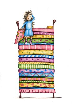 Taken from my original watercolour painting this beautiful art print is available in two sizes, ready to x 8 inch 11 x 14 inchThe prints are made using high quality archival ink . Princess And The Pea, Cute Princess, Fairy Tale Story Book, Fairy Tales, Hans Christian, Strip Quilts, Book Quilt, Conte, Beautiful Artwork