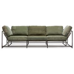 Military Canvas Sofa - Canvas & Marbled Brown Finish