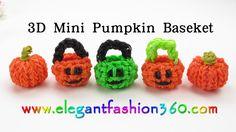 Rainbow Loom  Pumpkin Basket 3D Charm(Halloween) - How to Loom Bands Tut...