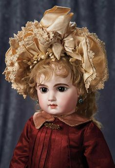 """""""Among Friends, The Billie and Paige Welker Collection"""": Lot # 104: Gorgeous French Bisque Brown-Eyed Bebe E.J. by Emile Jumeau"""