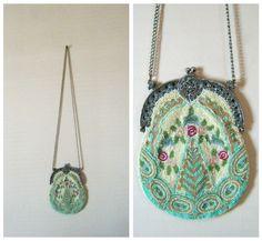 Beautiful delicate lemon and light green vintage beaded purse