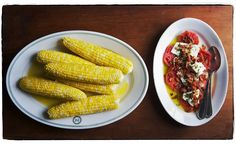 july lunch, canal house-style // corn on the cob + sliced tomatoes with feta, bacon, and chives