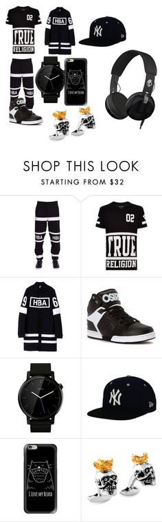 """HBA"" by trebian ❤ liked on Polyvore featuring Hood by Air, True Religion, Motorola, New Era, Casetify, Tateossian, Skullcandy, men's fashion and menswear"