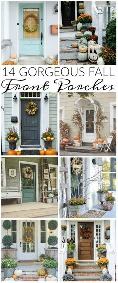 14 can't miss GORGEOUS fall front porches! 14 can't miss GORGEOUS fall front porches! Autumn Decorating, Porch Decorating, Decorating Ideas, Fall Home Decor, Autumn Home, Front Door Decor, Front Porch Fall Decor, Fall Front Porches, Fall Porch Decorations