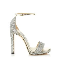 Misty 120 in Champagne Coarse Glitter Fabric. Discover our Pre Fall 19 Collection and shop the latest trends today. Glitter Sandals, Designer Sandals, Glitter Fabric, Silver Glitter, Metallic, Harrods, Jimmy Choo, Ankle Strap, Stiletto Heels