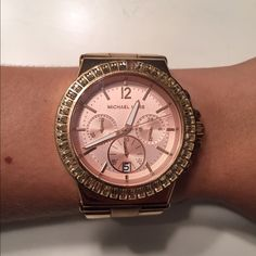 Rose Gold Michael Kors Watch Used rose gold watch. Face is missing one baguette which can be replaced by MK. I also don't have the links anymore but MK will send two for free. Two links are currently taken out. - NO TRADES - Michael Kors Accessories Watches