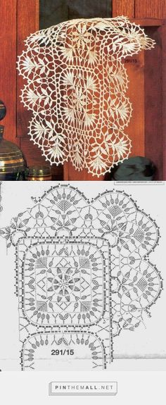 Delicate crochet lace. Doily Nr 291/15, with chart