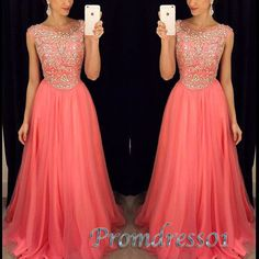 Beaded round neck coral chiffon prom dresses with beautiful top details, long modest prom dress for teens