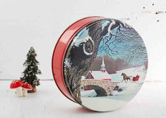 Vintage Christmas Cookie Tin Winter Holiday....Mom had a large selection of collector tins for cookies, toffee, candy.....!!!!