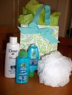 "Baby Shower Prize ""From our Shower to Yours""...cute idea! Would also work for bridal showers!"