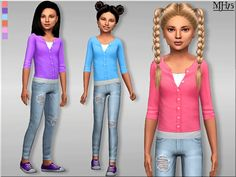 -A one piece unique casual outfit for child female sims, that consists of a pretty cardigan top and skinny jeans. Found in TSR Category 'sims 4 Female Child Everyday' Sims 4 Cc Kids Clothing, Kids Clothes Boys, Children Clothing, Casual Summer Outfits, Kids Outfits, Sims 4 Children, 4 Kids, Sims4 Clothes, Sims 4 Toddler