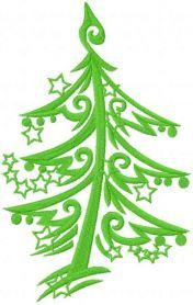 Christmas tree free machine embroidery design. Machine embroidery design. www.embroideres.com