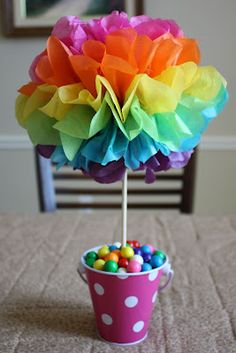 22 Spectacular Rainbow Crafts, Snacks, and Decorations! 22 Spectacular Rainbow Crafts, Snacks, and D Trolls Birthday Party, Rainbow Birthday Party, Rainbow Theme, Birthday Table, Rainbow Baby, Birthday Ideas, Troll Party, 5th Birthday, Birthday Celebration