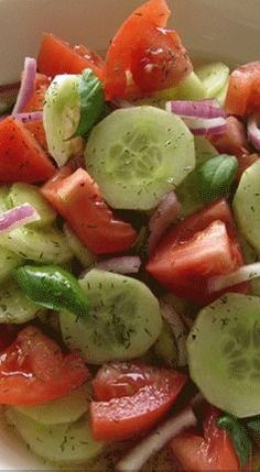Stupendous tomato and cucumber salad.