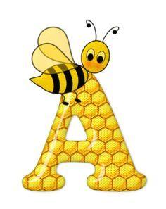 Alfabeto de abeja sobre letras de panal.   Oh my Alfabetos!