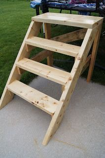Homemade wood steps for trampoline. Shoe storage painted on one side. Walkway on. Homemade wood steps for trampoline. Shoe storage painted on one side. Walkway on. Trampoline Steps, Backyard Trampoline, Trampoline Ladder, Trampoline Games, Pool Ladder, Attic Ladder, Woodworking For Kids, Woodworking Projects, Side Walkway