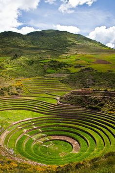 Moray, Cusco, Peru - The site of Moray is an excellent example of Andean technological development during the Incan period. The circular terraces we know today were once an Incan agricultural investigation center, where they experimented with crops at different altitude levels. The complicated terraces and irrigation systems, and environmental temperature and frost control, permitted the Incas to cultivate more that 250 varieties of vegetables at this site.