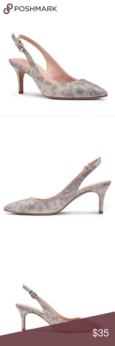 """Sole Society Denver Slingback Mid Heel Pump A truly timeless slingback mid heel with a pointed toe. Snakeskin leather look is the perfect neutral.  Material: Faux Leather Heel Height: 2 1/2"""" Fit: True to size. Excellent, like new condition. Size 9. Sole Society Shoes Heels"""
