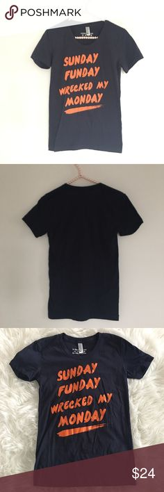 """American Apparel Graphic 50-50 Tee Shirt Small SO cute! """"Sunday Funday Wrecked my Monday"""" Navy blue with orange letters.  Length: 25"""" Underarm to Underarm: 15""""  Smoke free home American Apparel Tops Tees - Short Sleeve"""