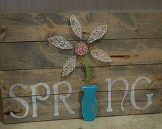 Barnwood Stained SPRING String Art Sign by AllibugArt on Etsy