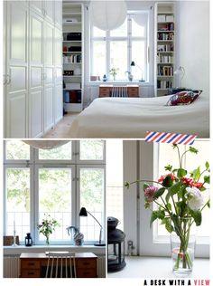 beautiful bedroom/office #white #bedroom #office