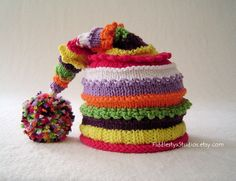 Girl's Striped Stocking Hat - Hand Knit Hat (Newborn, Infant, Toddler, Child sizes) Spring Children Clothing Spring Accessories. $55.00, via Etsy.