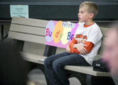 Buddy bench at Roundtown Elementary to help foster friendships during recess.