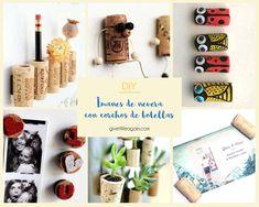Imanes de nevera originales con corchos de botellas reciclados Place Cards, Place Card Holders, Ideas, Crafts With Pallets, Wine Corks, Wine Goblets, Recycled Bottles, Burlap, Coasters