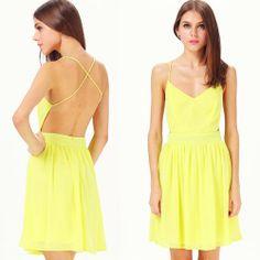 Yellow Criss Cross Pleated Chiffon Dress