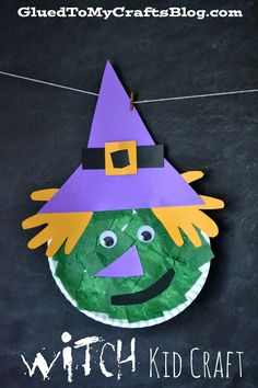 "october crafts for kids Today I'm sharing a kid friendly Paper Plate Halloween Witch kid craft idea that is in honor of the wicked ""lady. Collage Halloween, Halloween Art Projects, Theme Halloween, Halloween Crafts For Kids, Halloween Activities, Halloween 2018, Holiday Crafts, Halloween Witches, Halloween Halloween"