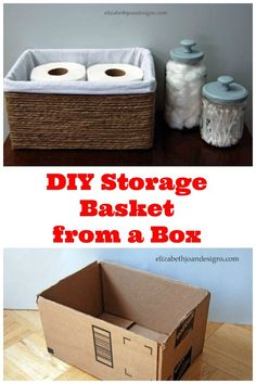 DIY storage basket from a box.  This is a great way to get organized on a budget.