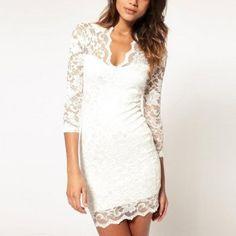vestidos cortos de encaje blanco - Buscar con Google